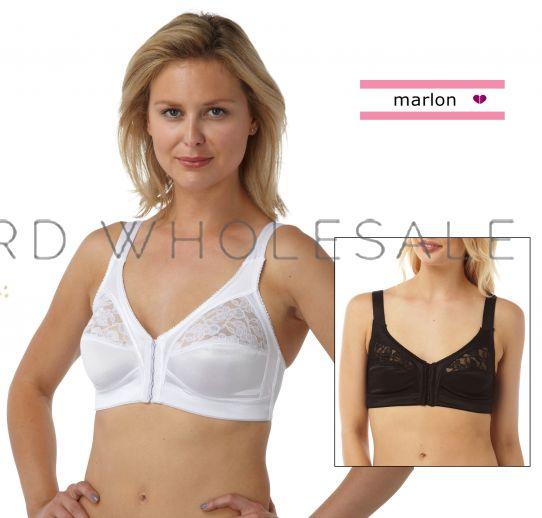 48E Black White BR404 Womens Firm Control Soft Cup Bras Bra Marlon Sizes 34B