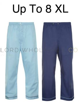 PLUS SIZE 2 Pack Mens Pyjama Trousers Poly Cotton Up To 8XL by Kingsclub