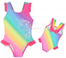 09C029 Toddlers Rainbow Unicorn Swimsuits