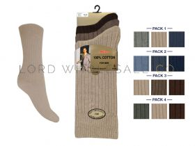Mens 6-11 3 Pair Pack 100% Cotton Socks