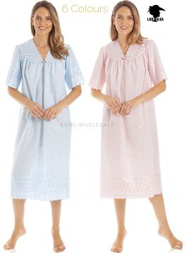 1090 Embroidery Anglaise V Neck Nightdress by Lady Olga