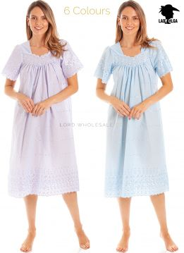 1091 Square Neck Embroidery Anglaise Nightdresses