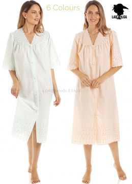 1092 Embroidery Anglaise Button Through Nightdress by Lady Olga