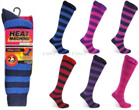 1162 Ladies Striped Long Heat Machine Socks