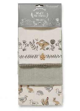 1791 Country Animals Tea Towels 3 Pack