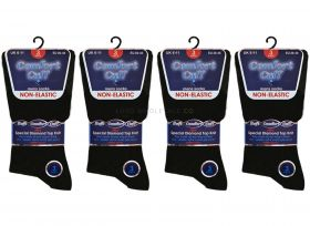 1830 Comfort Cuff Black Non Elastic Socks