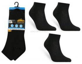 Men's Black Cotton Rich Trainer Socks 3 Pair Pack 6-11 by Pro Hike