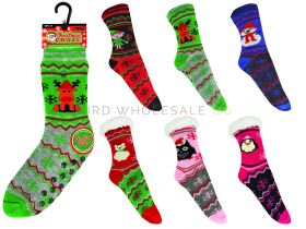 2174 Kids Sherpa Lined Christmas Socks