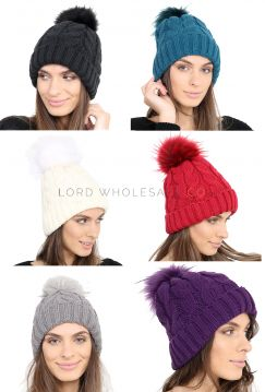 2182 Sherpa Lined Coloured Bobble Hats by Heat Machine