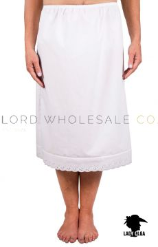 "Premium Poly Cotton Half Slips Waist Slips 26"" Length by Lady Olga"