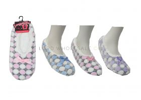 Ladies Spot Design Cosy Soft Slipper Socks With Grips By Snuggle Toes 12 pieces