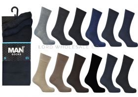 Men's Assorted 3 Pair Pack Cotton Rich Socks by MAN 1 dozen