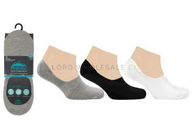 Mens No Show Footies Socks 3 Pair Pack by Pro Hike Black, White & Grey