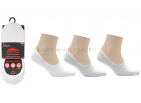 Ladies No Show Footies Socks 3 Pair Pack by Pro Hike White