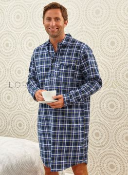 Champion Mens Brushed Check Cotton Nightshirt 100% Cotton