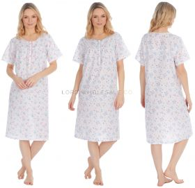 34B1556 Short Sleeved Poly Cotton Nightdresses