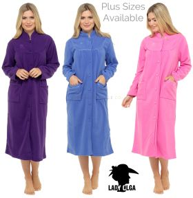 Ladies Daisy Button Through Fleece Dressing Gowns by Lady Olga