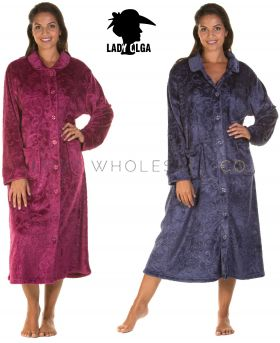 Ladies Sweet Embrace Soft Feel Embossed ButtonGown By Lady Olga