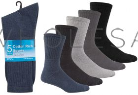 Men's 5 Pair Pack Cotton Rich BIG FOOT Sport Sock  Black, White, Grey or Assorted
