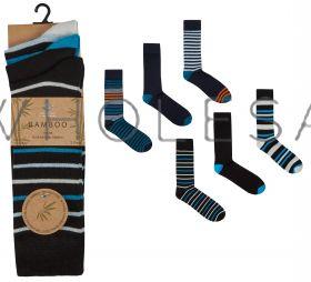 40B530 Men's Bamboo Stripe Socks by Pierre Roche