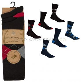 Men's Bamboo Argyle Non Elastic Socks by Pierre Roche 36 pairs