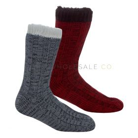 Mens Warm & Cosy Lounge Socks With Grippers by Pierre Roche  12 pieces