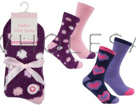 41B493 2 Pack Cosy Socks Hearts & Spots