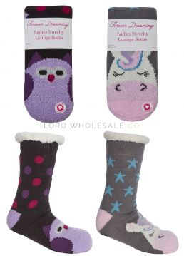41B569 Cosy Animal Sliper Socks