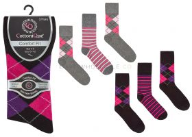 41B586 Ladies Argyle Non Elastic Socks
