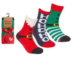Ladies Christmas Festive Socks With Grippers 6 Pairs