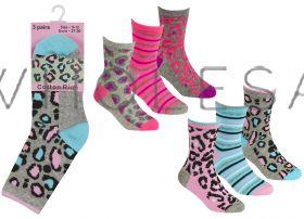 43B650 Older Girls Animal Print Socks 12 x 3 Pair Packs