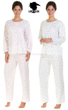 665 Bethan Floral Cuddleknit Pyjamas by Lady Olga