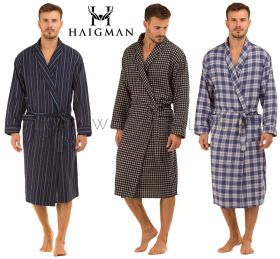 100% Cotton Brushed Mens Gowns Robes Wraps by Haigman