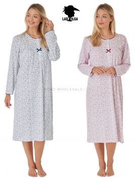 8907 Lady Olga Long Sleeved Nightdress 100% Cotton