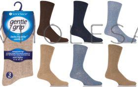 Big Foot Plain Fashion Gentle Grip 3 Pack Socks by Sock Shop
