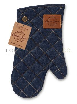 Oxford Denim Single Gauntlet Oven Gloves by Cooksmart