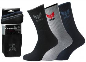 Mens Crown Cotton Sports Socks 3 Pair Pack  Black, White, Assorted or Grey