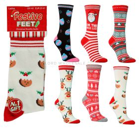 Festive Feet Ladies Christmas Socks 4-8