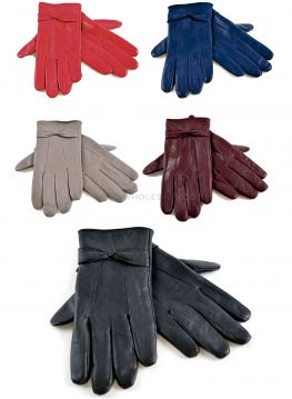 GL147 Leather Gloves With Bow