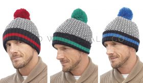 Mens 2 Tone Bobble Ski Hats by Tom Franks 12 pieces