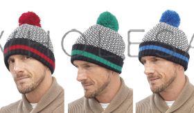 Mens 2 Tone Bobble Ski Hats by Tom Franks 12 pieces