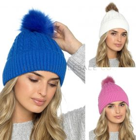 Ladies Cable Pom Pom Hat With Faux Fur Lining by Foxbury 12 pieces,