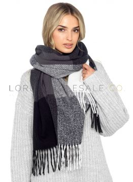 Ladies Grey Checked Soft Blanket Scarf 12 pieces
