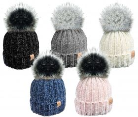 HAI407 Chenille Hats With Fur Lining