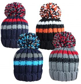 HAI412 Boys Fur Lined Striped Bobble Hats