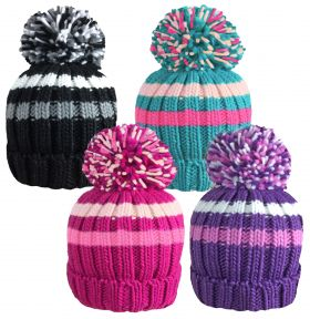 HAI413 Girls Chunky Knitted Striped Bobble Hats