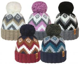 Ladies Mohair Effect Hat With Pom Pom by Rock Jock 12 pieces