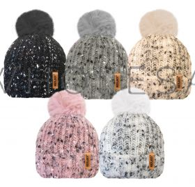 Ladies Speckled Yarn Hats With Fur Pom by Rock Jock 12 pieces