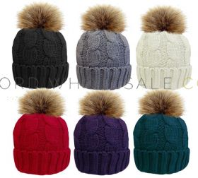 Ladies Cable Hat with Sherpa Lining & Detachable Fur Pom Pom 12 Pieces