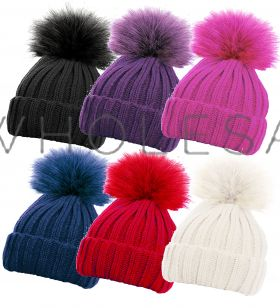 HAI-645 Girls Detachable Pom Pom Hats